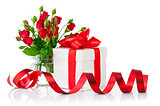 Gift with red bow and bouquet rose