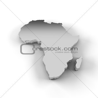 Africa map 3D in silver and including clipping path