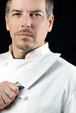 Chef Displays Knife, Portrait