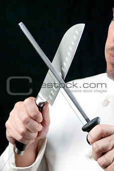 Chef Sharpens Knife, Side