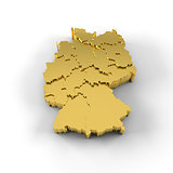 Germany map 3D in gold with states stepwise and clipping path