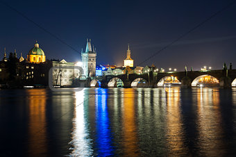 Charles bridge in deep night