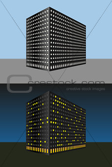 Abstract building. Day and night