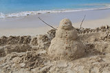 Sandman on a beach in Antigua Barbuda