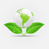 Green eco planet concept vector illustration