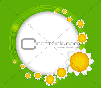 Abstract background with frame and flowers. Vector illustration.