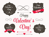 Vector St Valentine Day's Labels, Elements, Arrows in Retro Styl