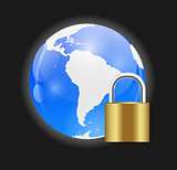 Globe Icon with Protection Lock Vector Illustration