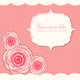 Valentines Day Card with Rose Flowers, Vector Illustration