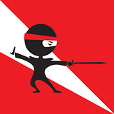 cute cartoon ninja fighting with a sword