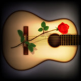 abstract dark background with rose and guitar