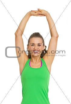 Fitness young woman stretching