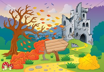 Autumn theme with castle ruins 4