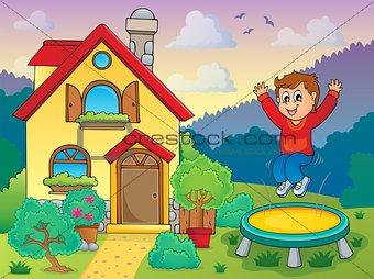 Boy playing near house theme 1