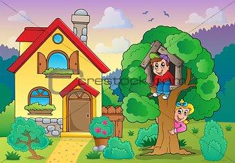Children playing near house theme 2