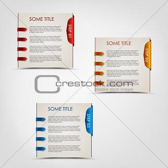 Modern steps colored labels progress background