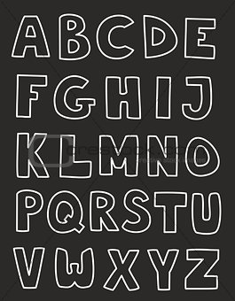 Alphabet letters hand drawn vector set isolated on dark background.