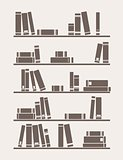 Books on the shelf vector simply retro school or library illustration.