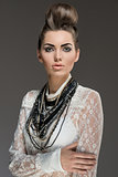 fashion brunette with necklaces