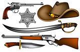 set of sheriff's weapons and accessories