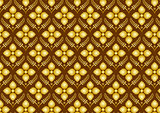 Retro Thai Flower Pattern on Brown Background