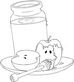 Rosh Hashanah Honey Jar and Apples Coloring Page