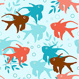 Seamless pattern with tropical fishes
