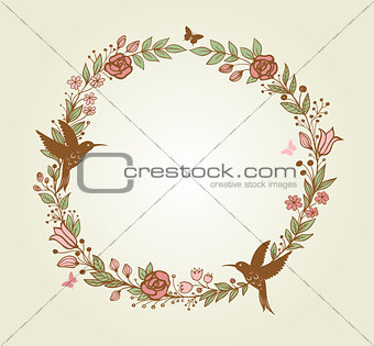 Floral frame and birds