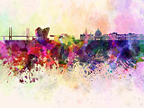 Copenhagen skyline in watercolor background