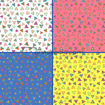 Four seamless vector patterns with colorful triangles