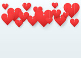 Background beautiful red heart on white paper with spase for text