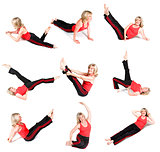 Senior Woman Various Yoga Poses