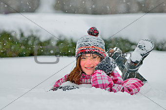 cute girl in snow