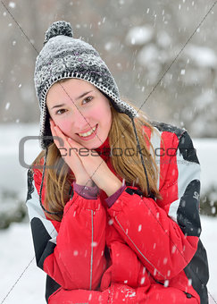 Beautiful blonde hair girl in  winter