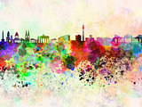 Berlin skyline in watercolor background
