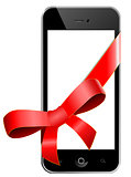 Mobile phone with a red bow