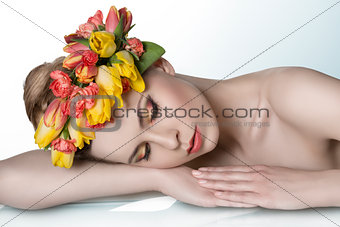 girl with spring garland