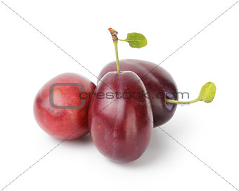 three ripe plums