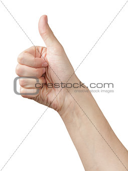 adult man hand thumb up side view