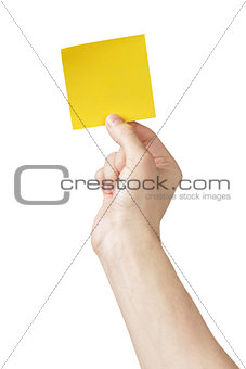 adult man hand holding sticky note