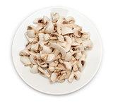 Sliced mushrooms in plate