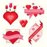 set of valentine's day banners
