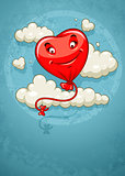 Red heart baloon flying among clouds retro