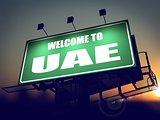 Billboard Welcome to UAE at Sunrise.