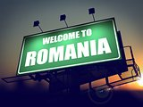 Billboard Welcome to Romania at Sunrise.