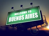 Billboard Welcome to Buenos Aires at Sunrise.