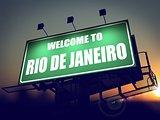 Billboard Welcome to Rio De Janeiro at Sunrise.
