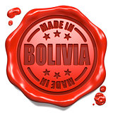 Made in Bolivia - Stamp on Red Wax Seal.
