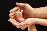 Newborn baby foot in parents hands