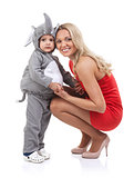 Elegant mom and baby dress as elephant